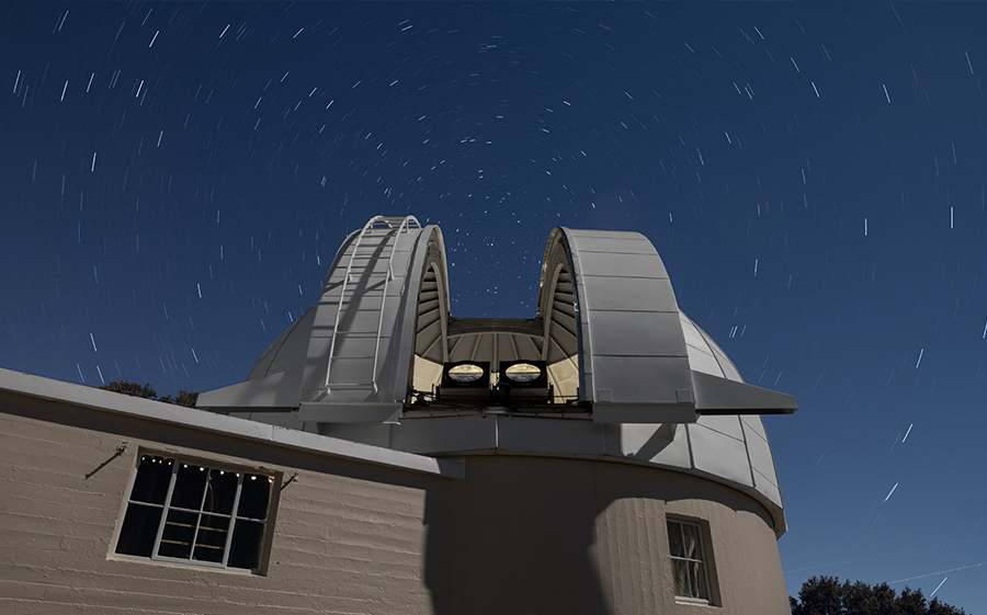 Two PANOSETI telescopes installed in the recently renovated Astrograph Dome at Lick Observatory. PANOSETI will utilize a configuration of many SETI telescopes to allow simultaneous monitoring of the entire observable sky. Photo by © Laurie Hatch.