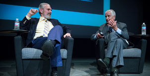 "At the Clarke Center's 2014 screening of ""2001: A Space Odyssey,"" actor Keir Dullea (left) and the film's science advisor Fred Ordway III (right) discuss their roles in the film. Photo courtesy of the Clarke Center"