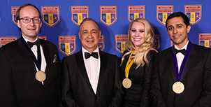 Left to right: Sergei Kalinin, 2018 Blavatnik National Laureate in Physical Sciences & Engineering; Len Blavatnik, founder and chairman of Access Industries and Blavatnik Family Foundation; Janelle Ayres, 2018 Blavatnik National Laureate in Life Sciences, and Devaraj.
